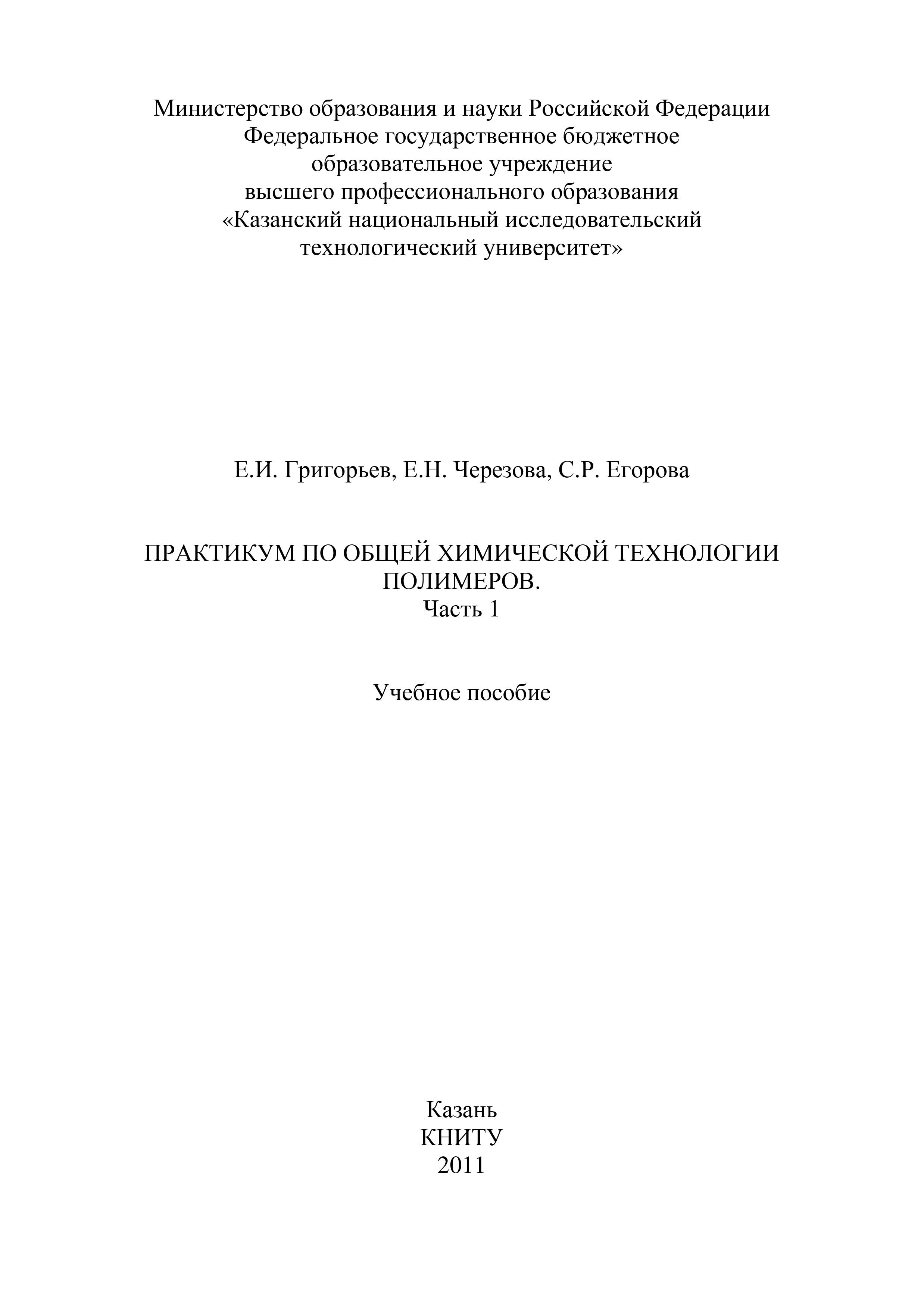 Практикум по общей химической технологии полимеров. Часть 1