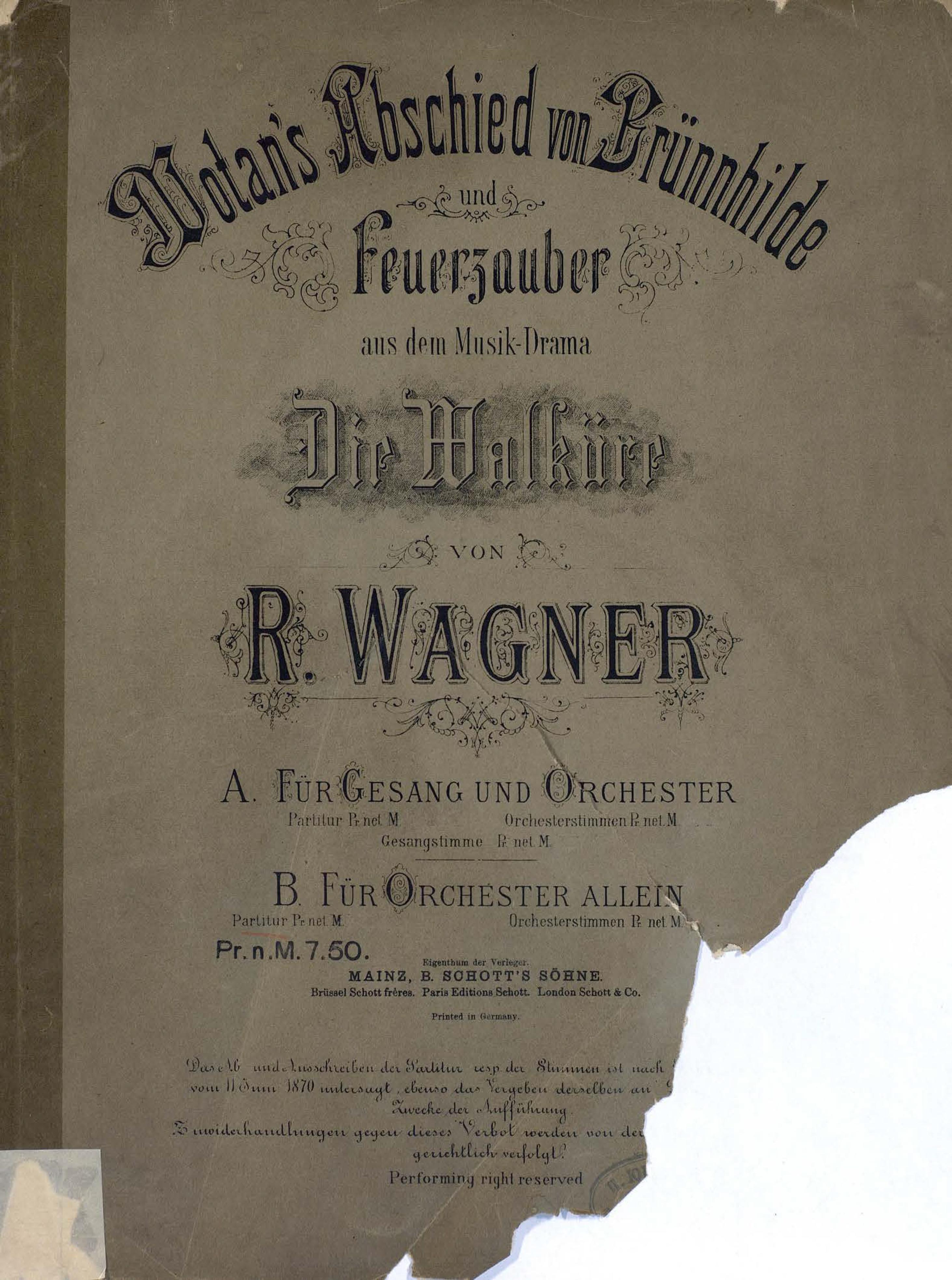 """Wotan's Abschied von Brunnhilde u. Feuerzauber aus dem Musik-Drama""""Die Walkure""""v. R. Wagner"""