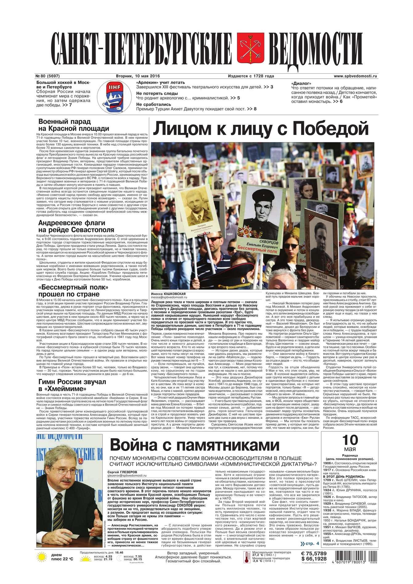 Редакция газеты Санкт-Петербургские ведомости Санкт-Петербургские ведомости 80-2016