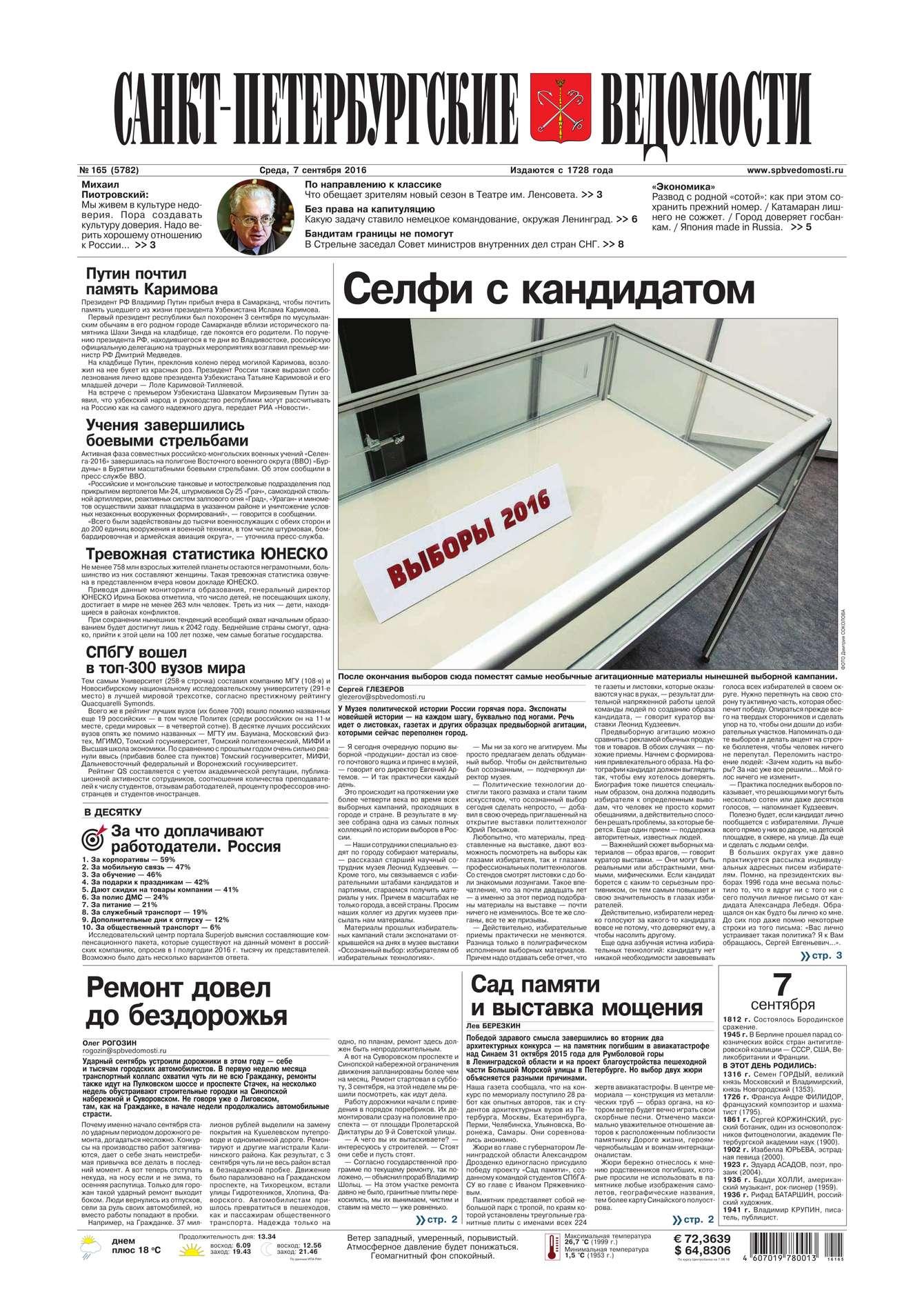 Редакция газеты Санкт-Петербургские ведомости Санкт-Петербургские ведомости 165-2016