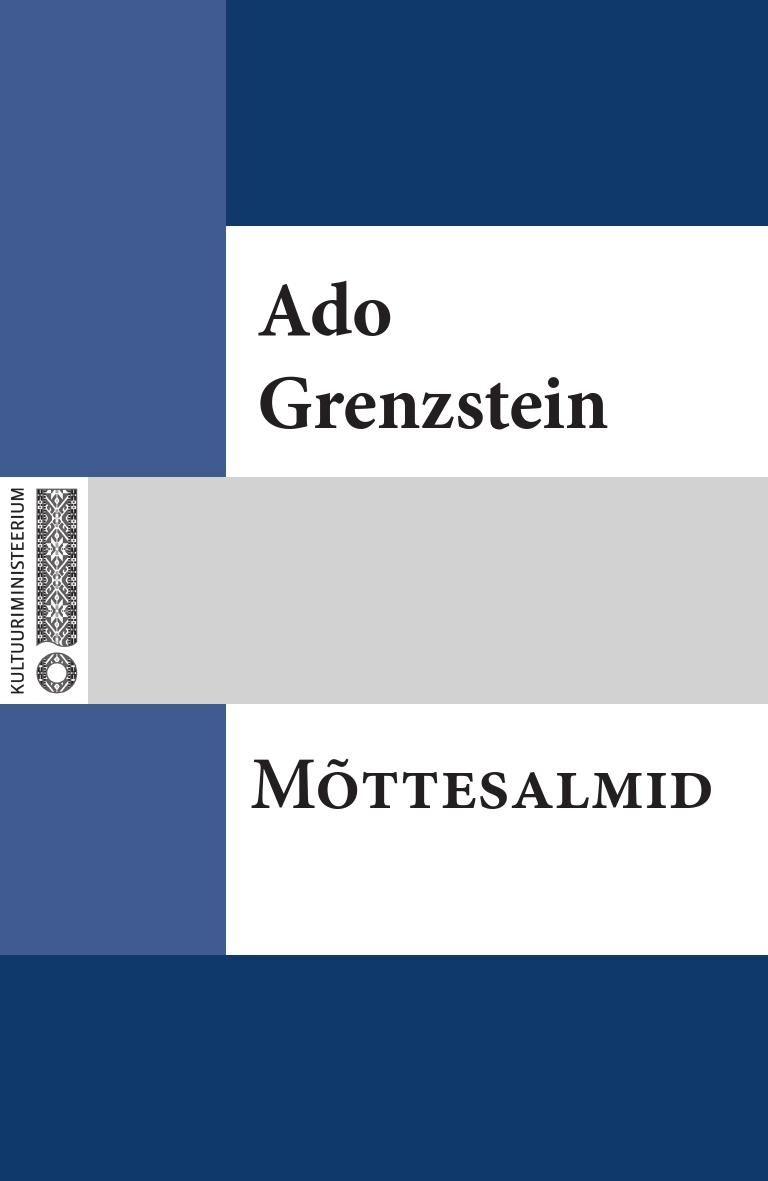 Ado Grenzstein Mõttesalmid все цены