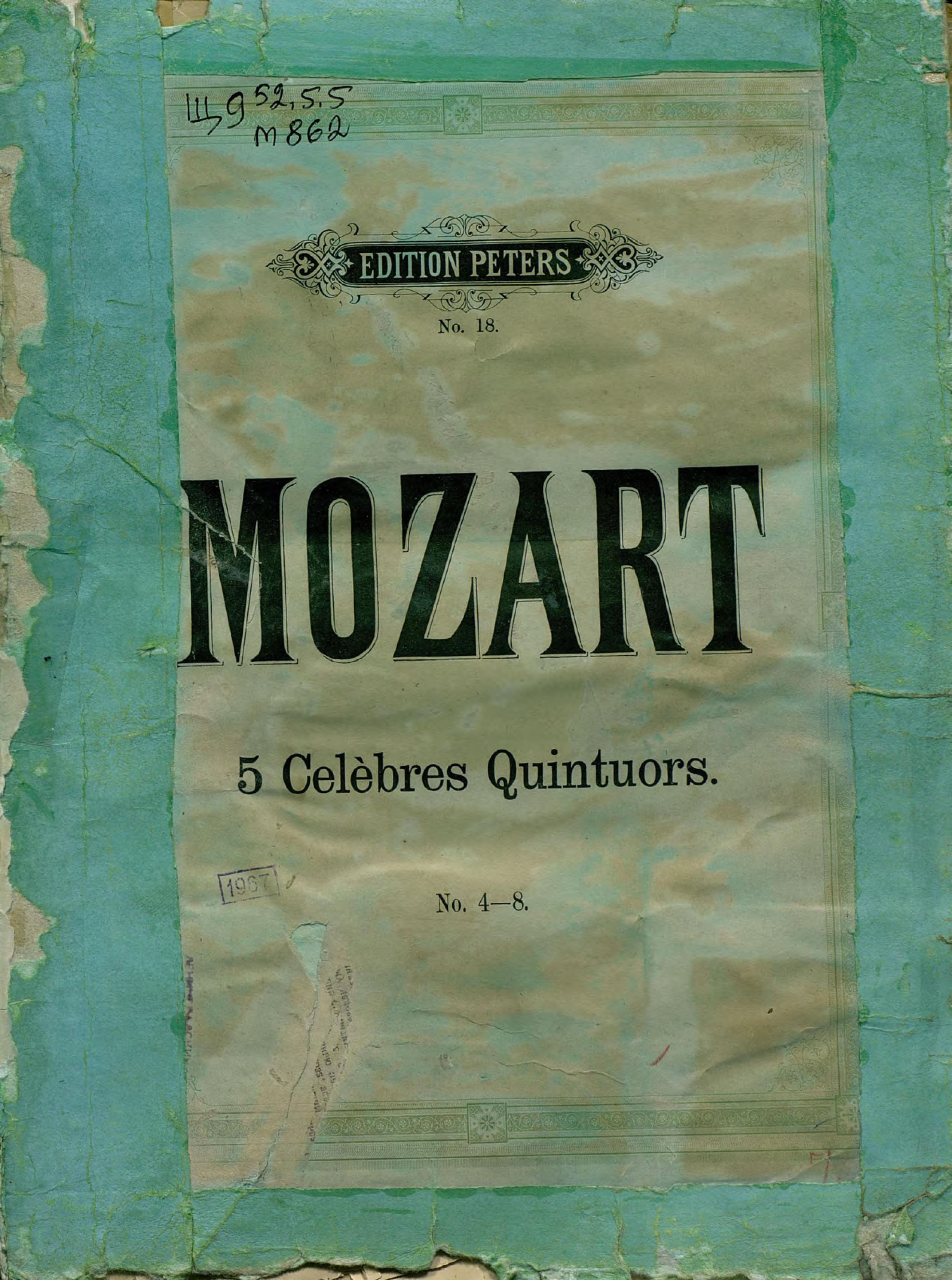 Вольфганг Амадей Моцарт Collection de Quintuors pour 2 Violons, 2 Violas et Violoncelle par W. A. Mozart сергей иванович танеев sixieme quatuor sib pour 2 violons alto et violoncelle par s taneiew