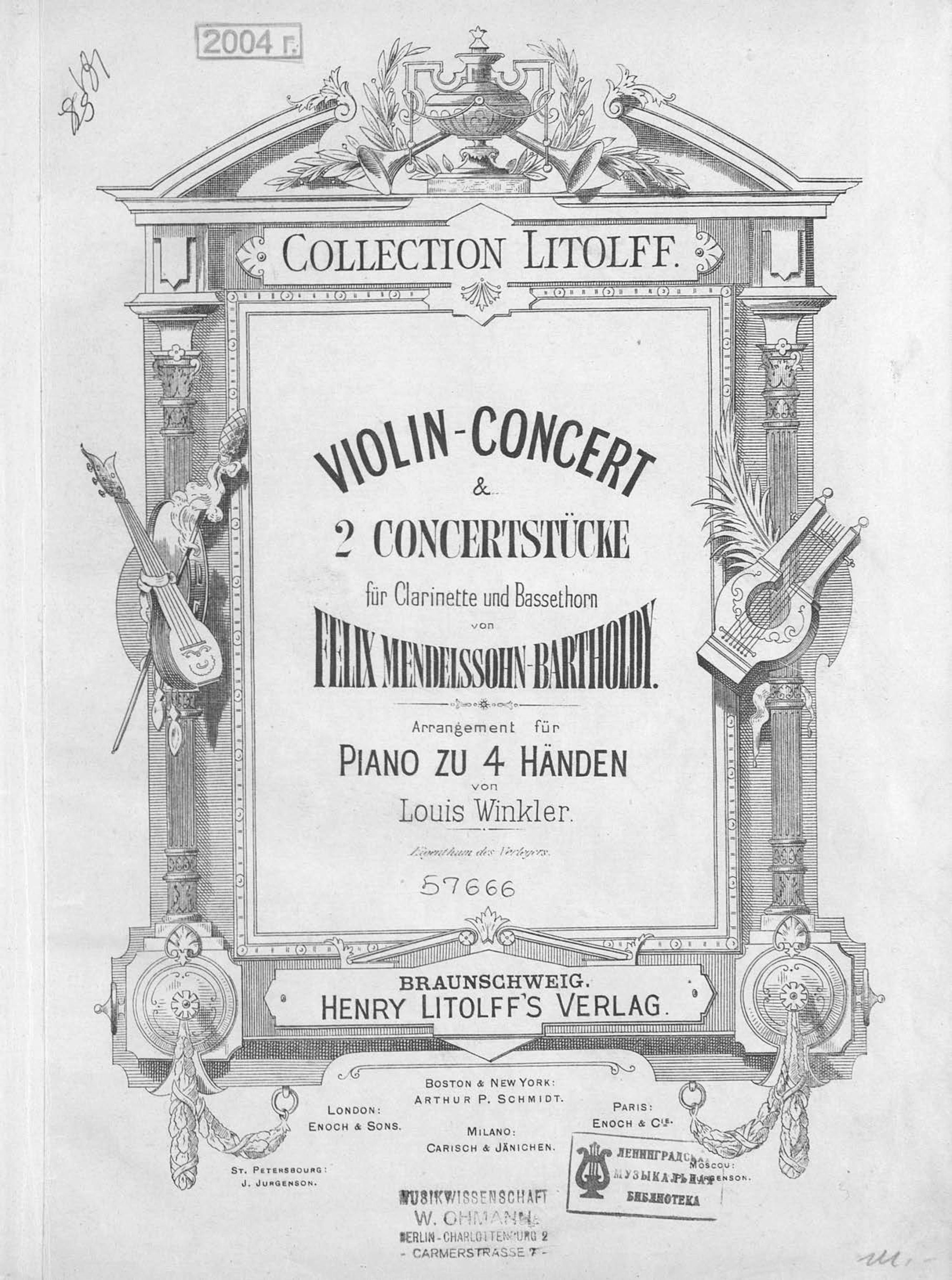 Феликс Мендельсон-Бартольди Violin-Concert & 2 Concertstucke fur Clarinette und Bassethorn v. F. Mendelssohn-Bartholdy